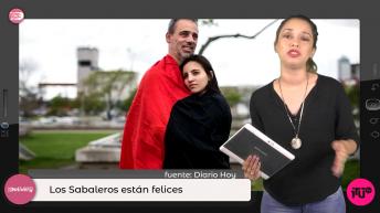 mujer con tablet dando noticias y pareja abrazada
