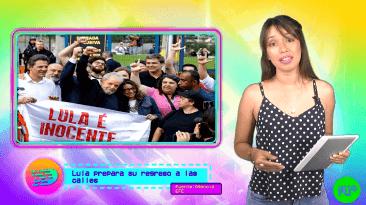 mujer con camiseta a lunares hablando de Lula Livre