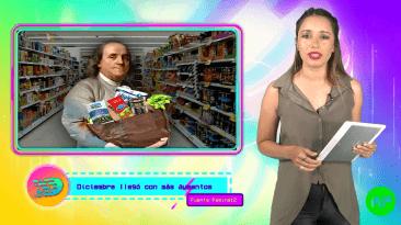 Mujer con camisa verde militar con tablet en mano y productos comestibles